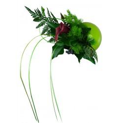 Flowerball verte avec végétaux stabilisés
