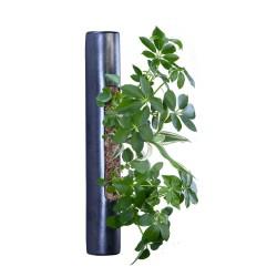 Flowertube métal en céramique avec végétaux vivants