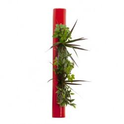 Flowertube rouge 65cm en céramique avec végétaux vivants