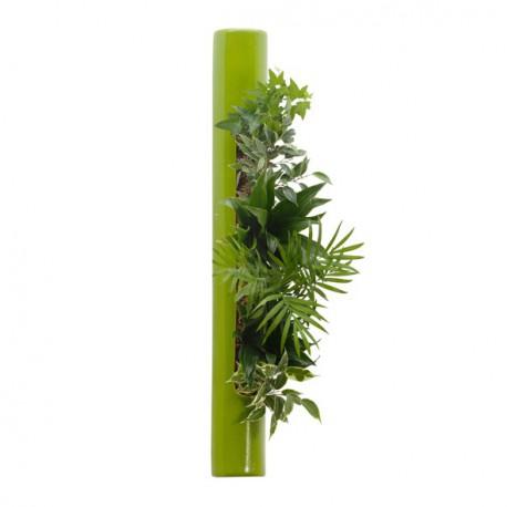 Flowertube vert 65cm en céramique avec végétaux vivants